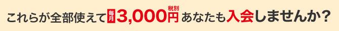 月々たった3,000円(税別)で、7つのサービスが使える!